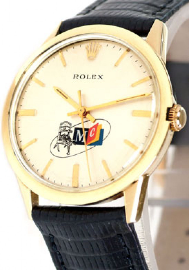 Rolex 1520 Yellow Gold on Strap Steel MC Logo with Gold Index