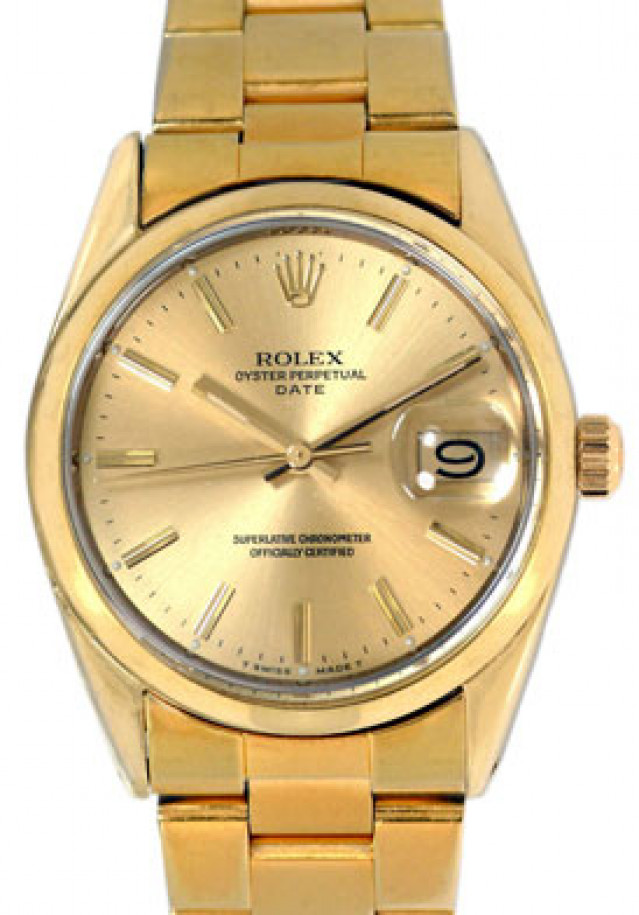 Rolex 1550 Yellow Gold on Oyster, Domed Bezel Champagne with Gold Index
