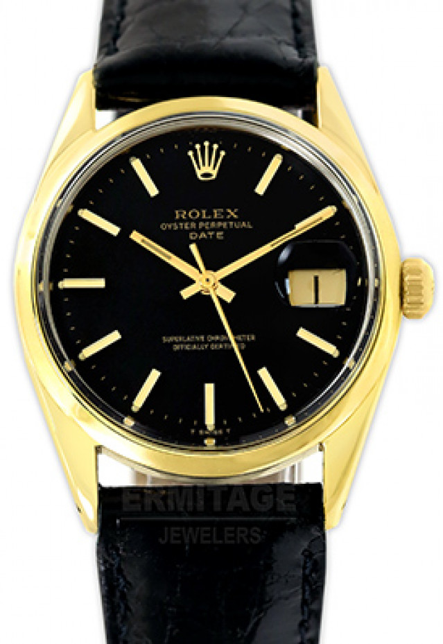 Rolex 1550 Yellow Gold on Strap Black with Gold Index