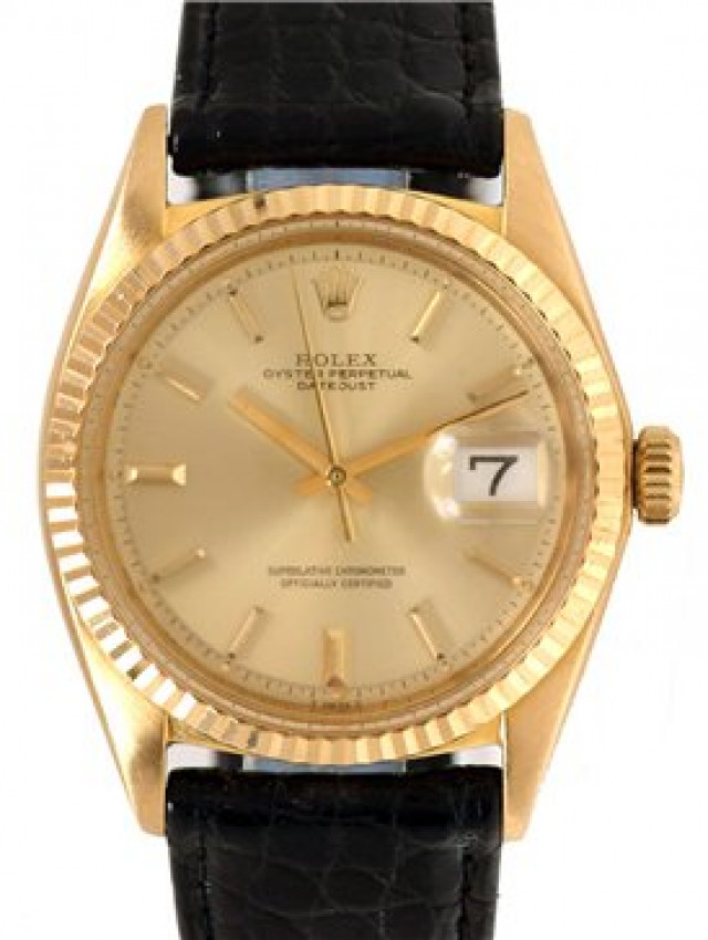 Rolex 1601 Yellow Gold on Strap, Fluted Bezel Champagne with Gold Index