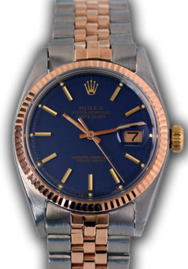 Rolex 1601 Rose Gold & Steel on Jubilee, Fluted Bezel Blue with Gold Index