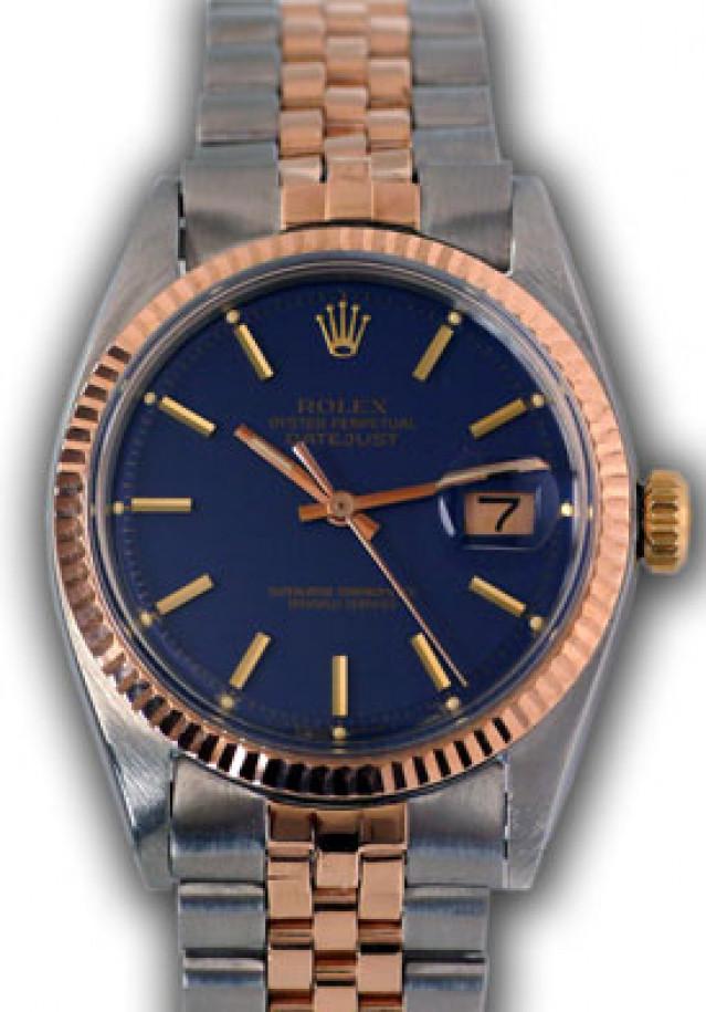 Rolex 1601 Rose Gold & Steel on Jubilee, Fluted Bezel Blue with Gold Index
