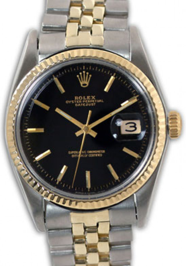 Rolex 1601 Yellow Gold & Steel on Jubilee, Fluted Bezel Black with Gold Index