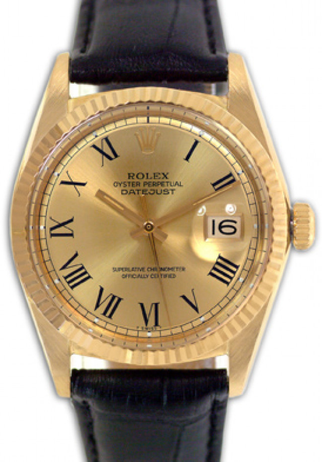 Rolex 1601 Yellow Gold on Strap, Fluted Bezel Champagne with Black Roman