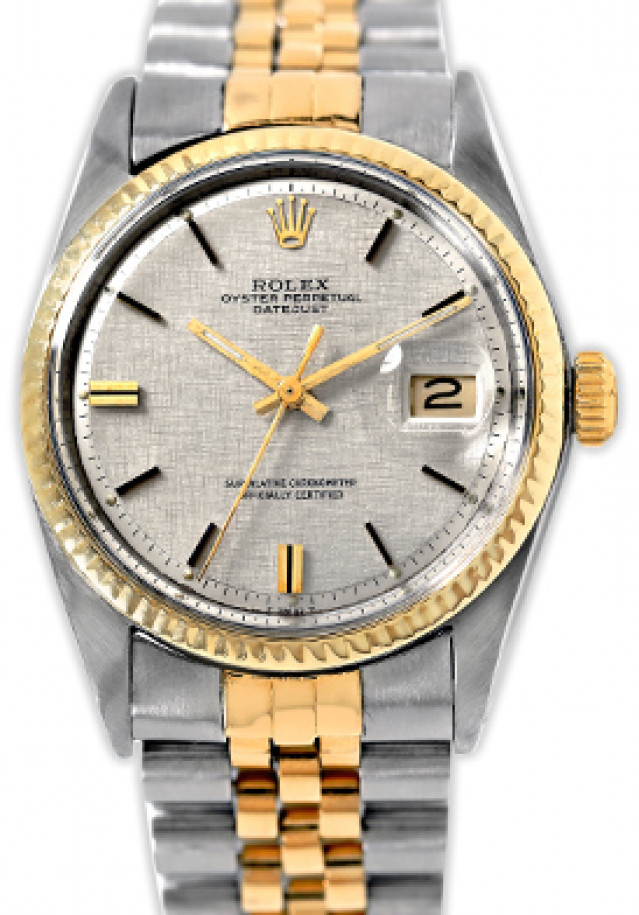 Rolex 1601 Yellow Gold & Steel on Jubilee, Fluted Bezel Steel Texture with Gold Index