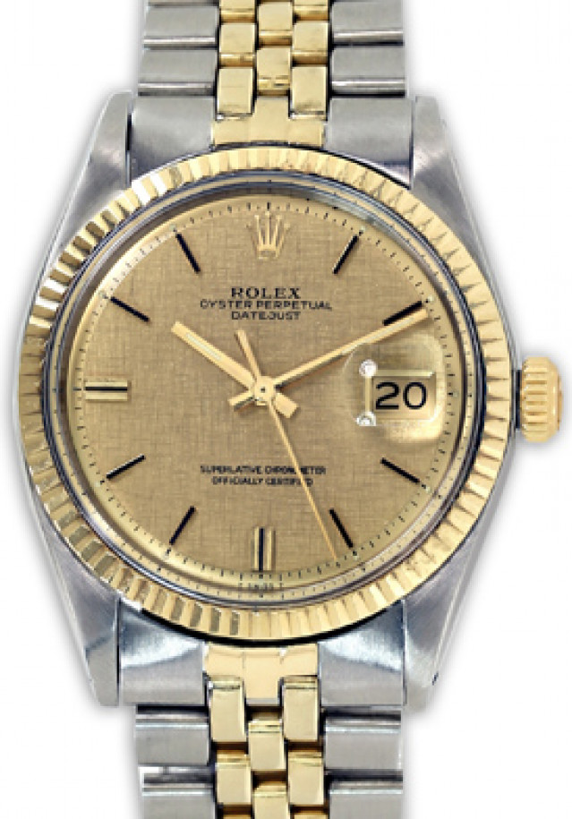 Rolex 1601 Yellow Gold & Steel on Jubilee, Fluted Bezel Champagne Florentine with Gold Index