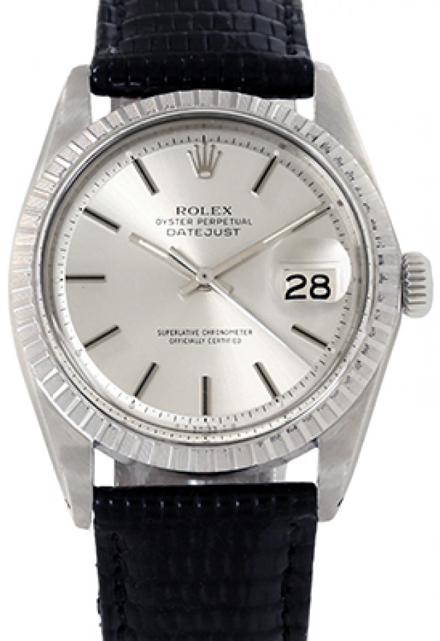 Rolex 1601 Steel on Strap, Finely Engine Turned Bezel Steel with Silver Index