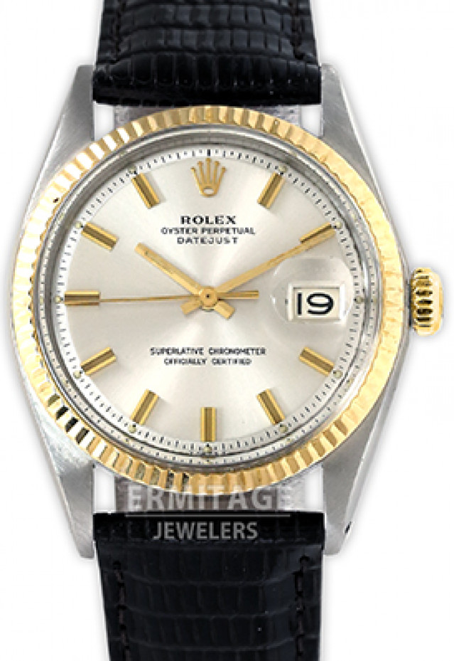 Rolex 1601 Yellow Gold & Steel on Strap, Fluted Bezel Steel with Gold Index