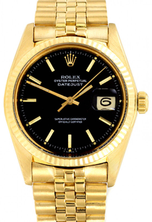 Rolex 1601 Yellow Gold on President, Fluted Bezel Black with Gold Index