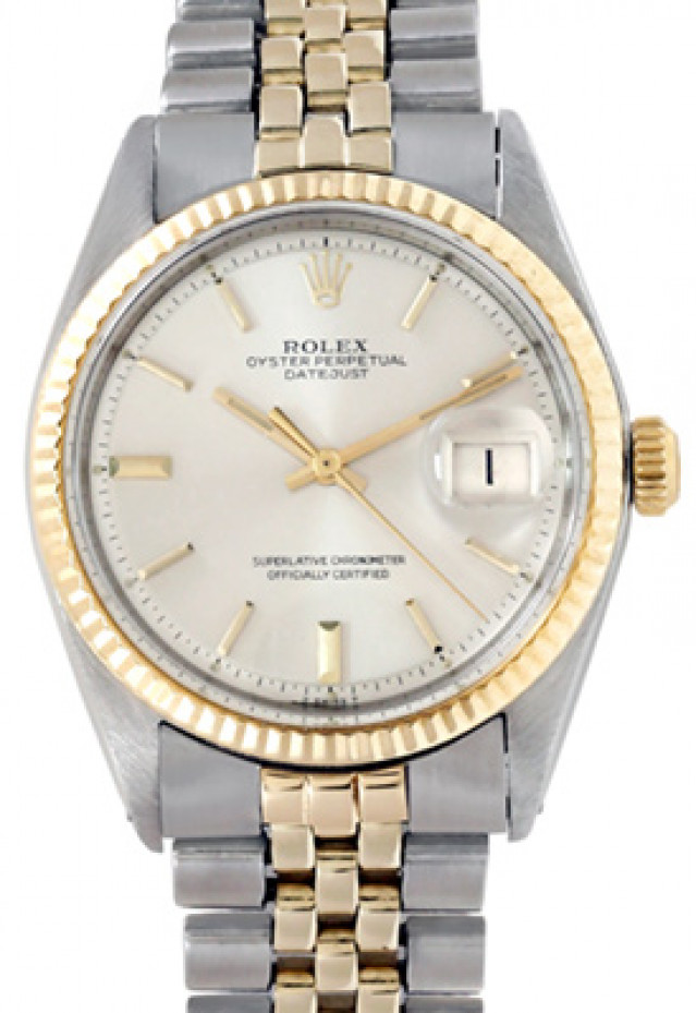 Rolex 1601 Yellow Gold & Steel on Jubilee, Fluted Bezel Steel with Gold Index