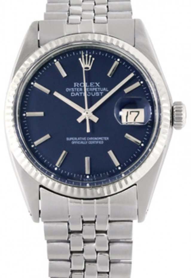 Rolex 1601 Steel on Jubilee, Fluted Bezel Blue with Silver Index
