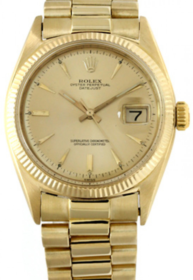 Rolex 1601 Yellow Gold on President, Fluted Bezel Champagne with Gold Index