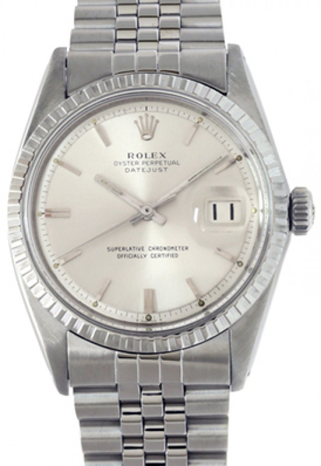 Rolex 1601 Steel on Jubilee, Engine Turned Bezel Silver with Luminous Index