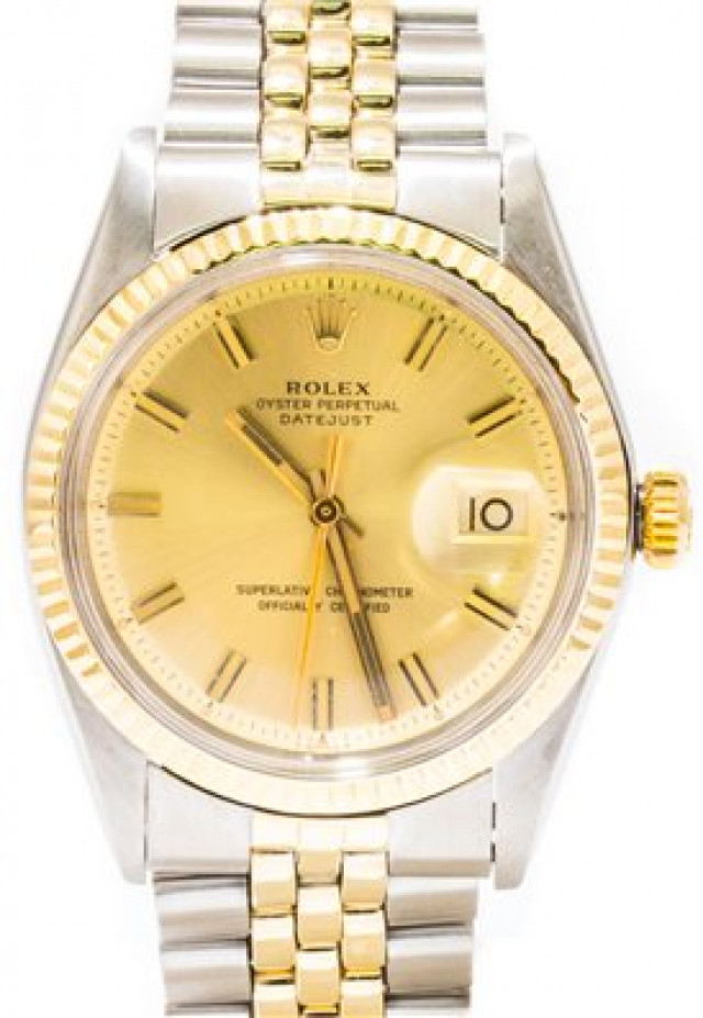 Rolex 1601 Yellow Gold & Steel on Jubilee, Fluted Bezel Champagne with Gold Index