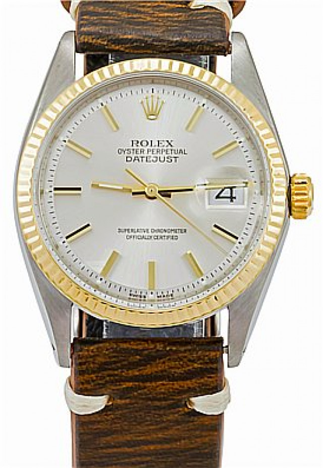 Rolex 1601 Yellow Gold & Steel on Strap, Fluted Bezel White with Gold Index