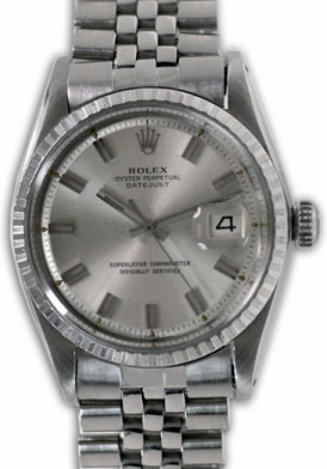 Rolex 1603 Steel on Jubilee, Fluted Bezel Steel with Silver Index