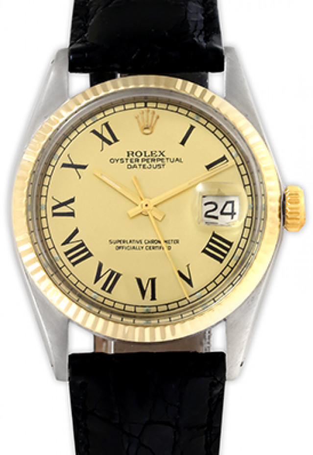 Rolex 1603 Yellow Gold & Steel on Strap, Fluted Bezel Champagne with Black Roman