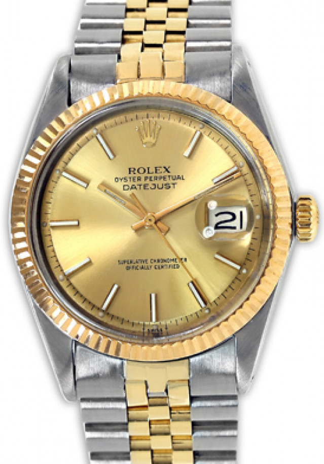 Rolex 1603 Yellow Gold & Steel on Jubilee, Fluted Bezel Champagne with Gold Index