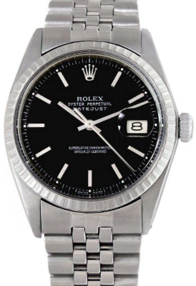 Rolex 1603 Steel on Jubilee, Fluted Bezel Black with Silver Index