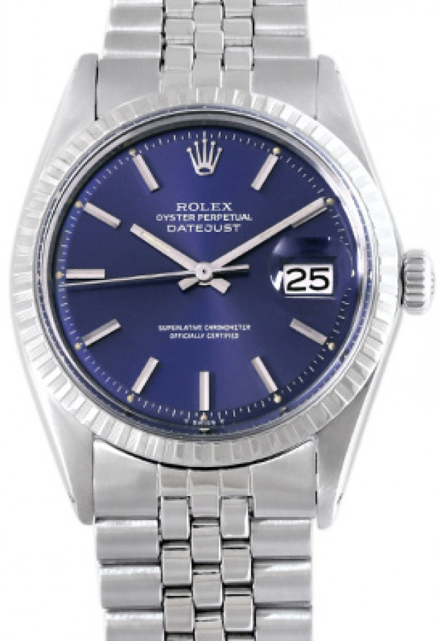 Rolex 1603 Steel on Jubilee, Engine Turned Bezel Blue with Silver Index
