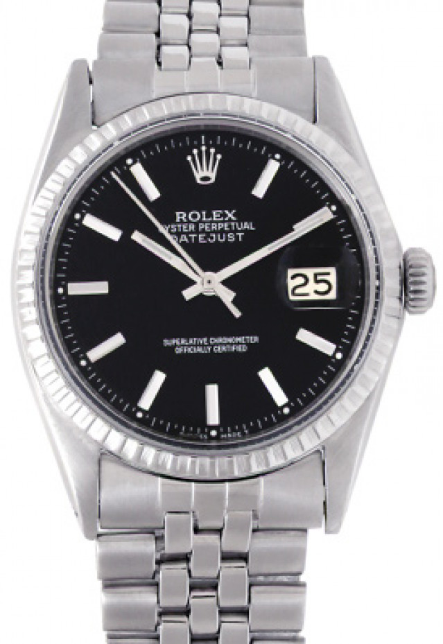 Rolex 1603 Steel on Jubilee, Engine Turned Bezel Black with Silver Index