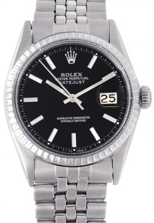 Rolex 1603 Steel on Jubilee, Engine Turned Bezel Black with Silver Index