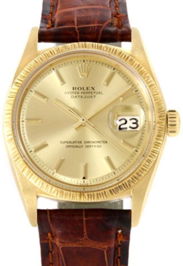 Rolex 1607 Yellow Gold on Strap, Bark Finish Bezel Champagne with Gold Index