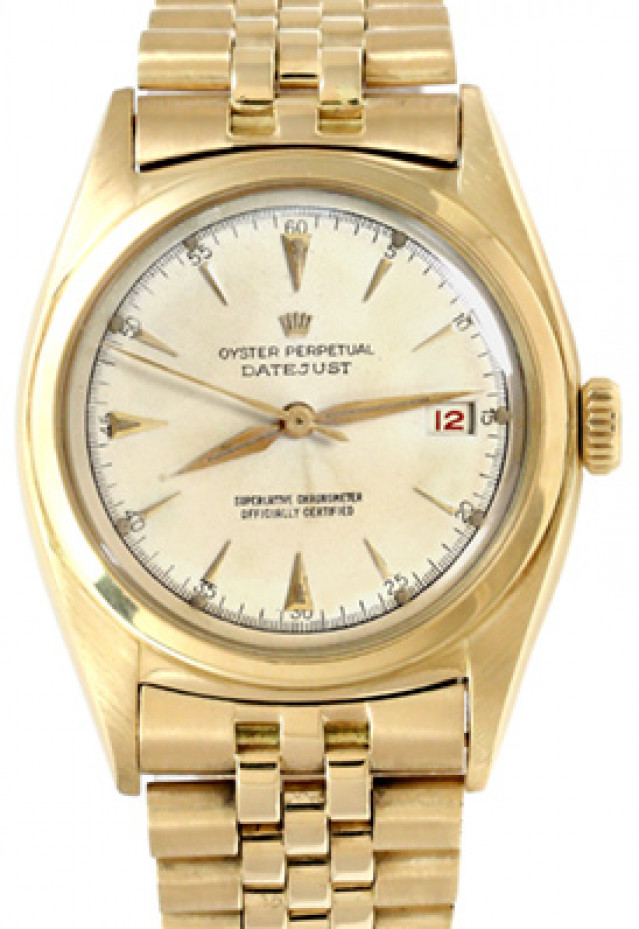 Rolex 6030 Yellow Gold on Jubilee, Smooth Bezel White with Gold Index