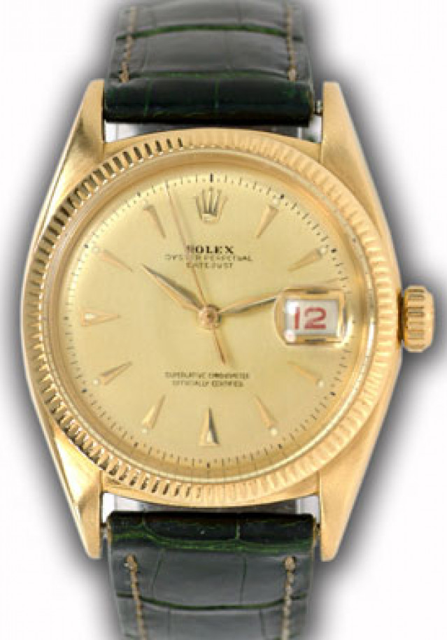 Rolex 6305 Yellow Gold on Strap, Fluted Bezel Champagne with Gold Index