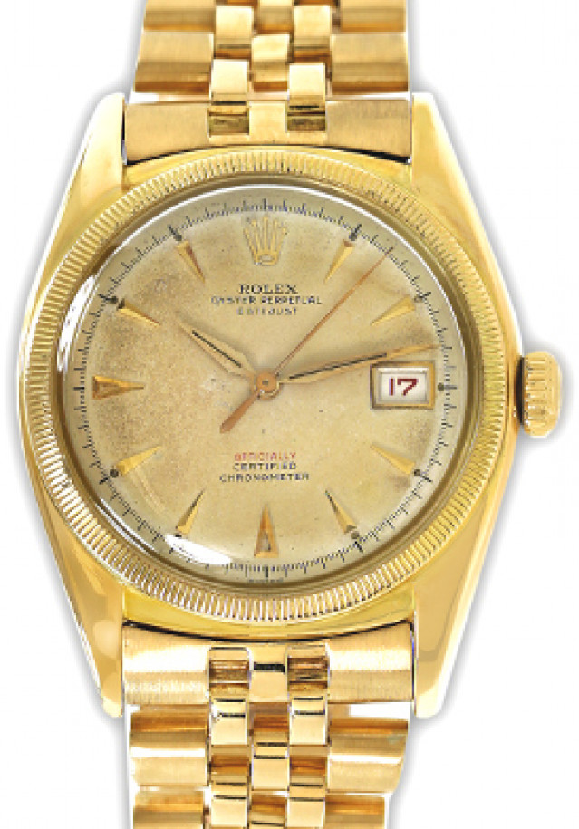 Rolex 6105 Yellow Gold on Jubilee White with Gold Index