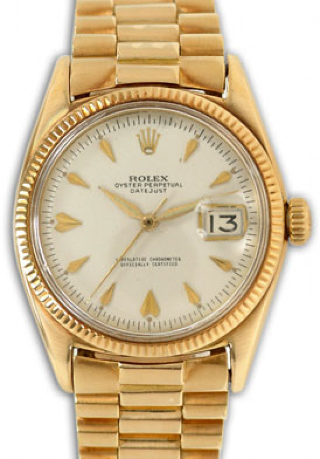 Rolex 6605 Yellow Gold on President, Fluted Bezel White with Gold Index