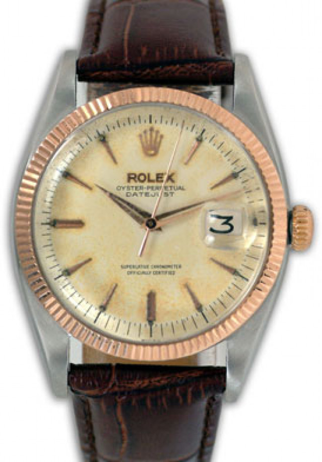Rolex 6605 Rose Gold & Steel on Strap, Fluted Bezel Steel with Gold Index