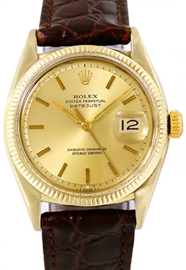 Rolex 6605 Yellow Gold on Strap, Fluted Bezel Champagne with Gold Index