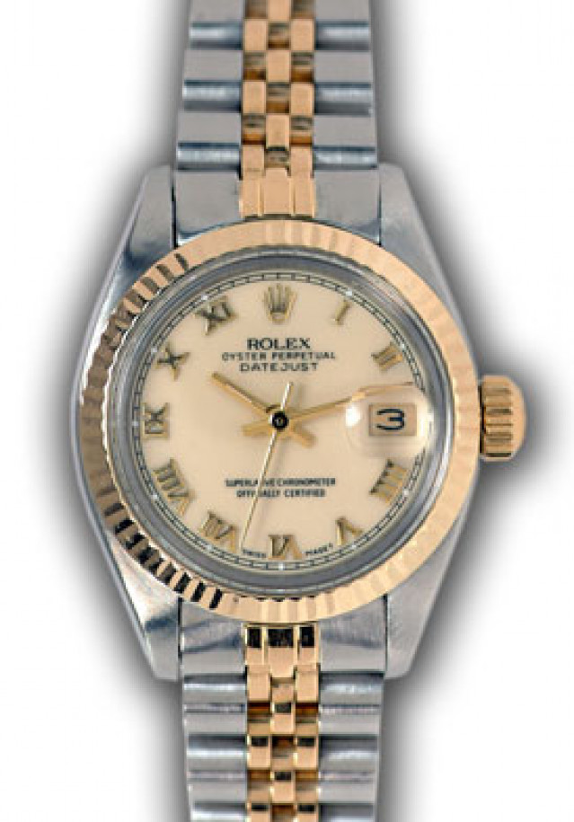 Rolex 6917 Yellow Gold & Steel on Jubilee, Fluted Bezel Ivory with Gold Roman