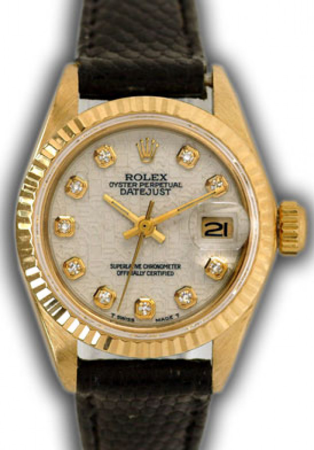 Rolex 6917 Yellow Gold on Strap, Fluted Bezel Jubilee White Diamond Dial
