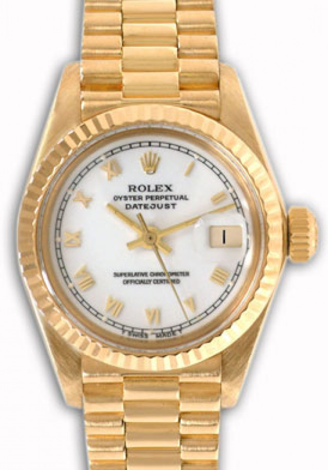 Rolex 6917 Yellow Gold on President, Fluted Bezel White with Gold Roman