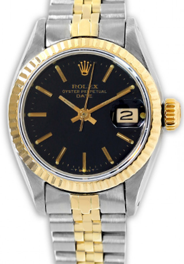 Rolex 6917 Yellow Gold & Steel on Jubilee, Fluted Bezel Black with Gold Index
