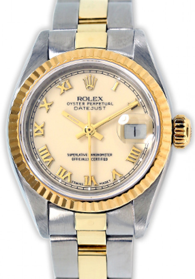 Rolex 6917 Yellow Gold & Steel on Oyster, Fluted Bezel Ivory with Gold Roman