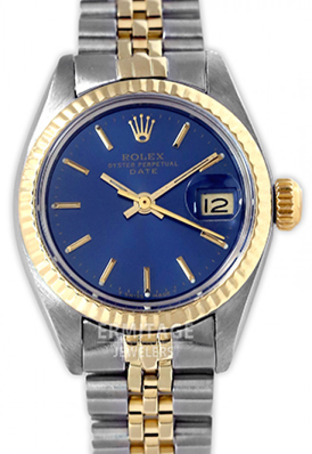 Rolex 6917 Yellow Gold & Steel on Jubilee, Fluted Bezel Blue with Gold Index