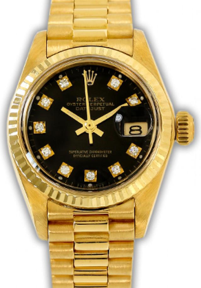 Rolex 6917 Yellow Gold on President, Fluted Bezel Black Diamond Dial