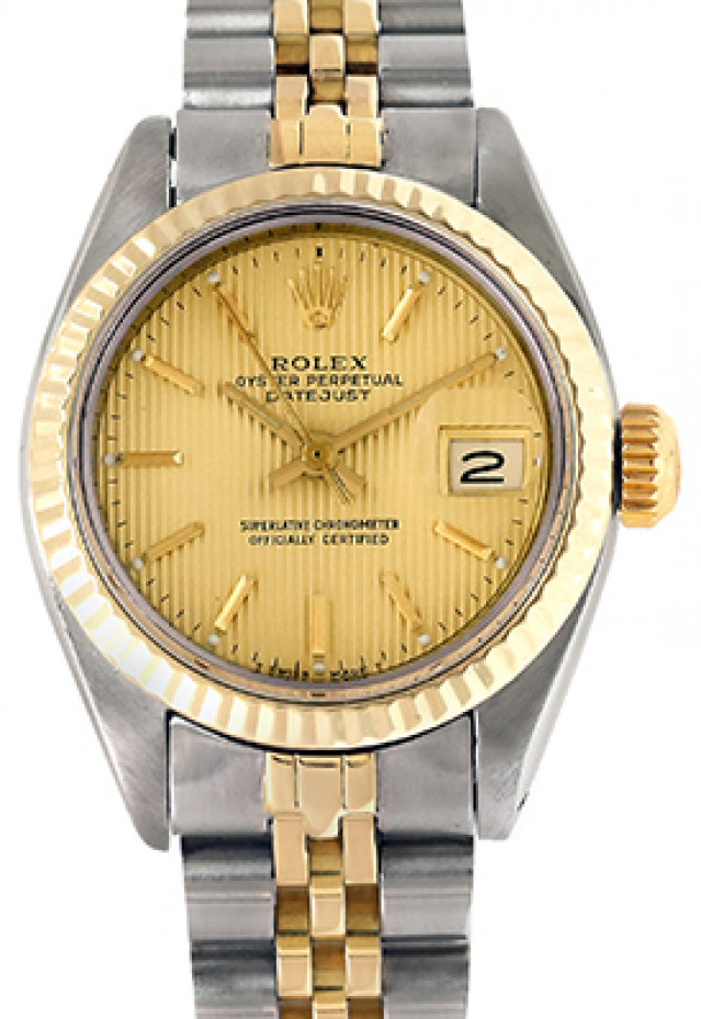 Rolex 6917 Yellow Gold & Steel on Jubilee, Fluted Bezel Champagne Tapestry with Gold Index