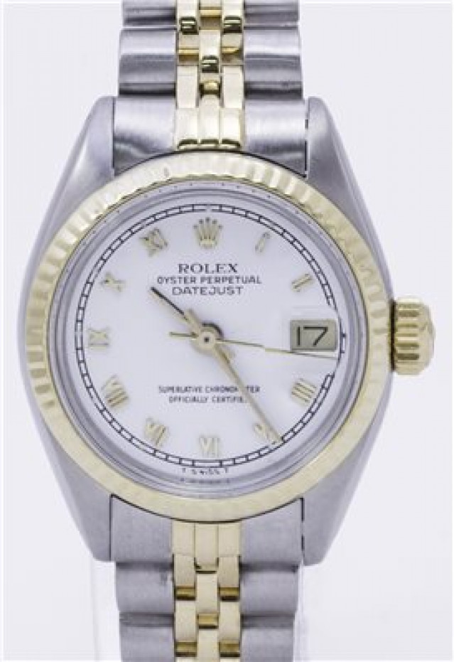 Rolex 6917 Yellow Gold & Steel on Jubilee, Fluted Bezel White with Gold Roman