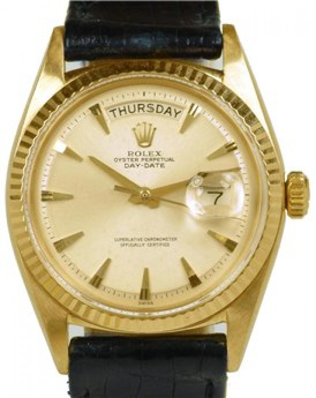 Rolex 1803 Yellow Gold on Strap, Fluted Bezel Steel with Gold Index