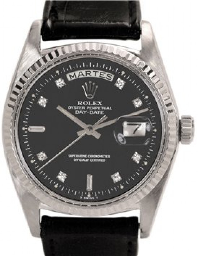 Rolex 1803 White Gold on Strap, Fluted Bezel Black Diamond Dial