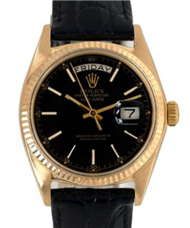 Rolex 1803 Yellow Gold on Strap, Fluted Bezel Black with Gold Index