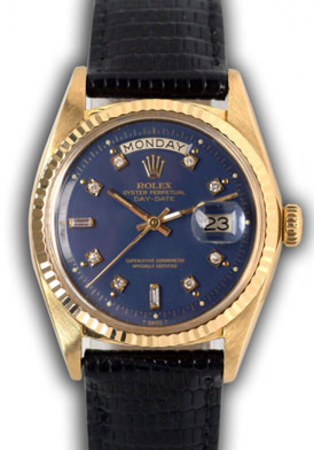 Rolex 1803 Yellow Gold on Strap, Fluted Bezel Blue Diamond Dial