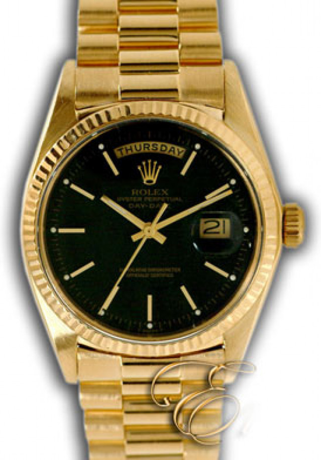Rolex 1803 Yellow Gold on President, Fluted Bezel Black with Gold Index