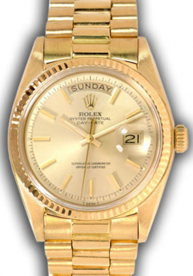 Rolex 1803 Yellow Gold on President, Fluted Bezel Steel with Gold Index