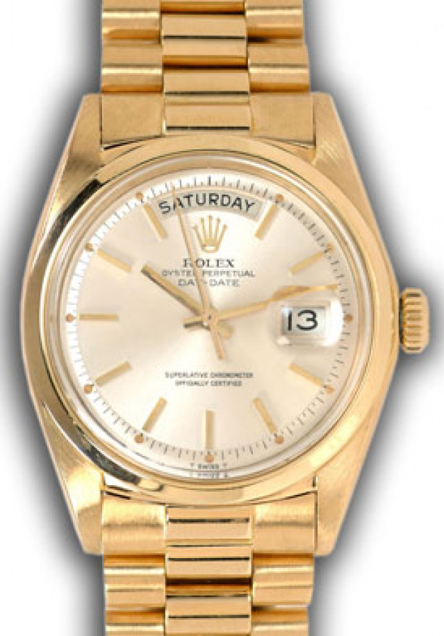 Rolex 1803 Yellow Gold on President, Smooth Bezel Steel with Gold Index