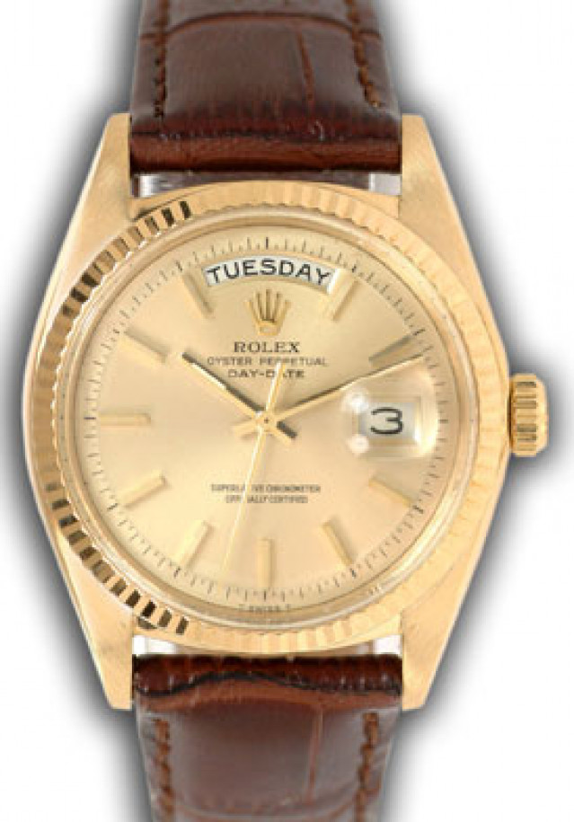 Rolex 1803 Yellow Gold on Strap, Fluted Bezel Champagne with Gold Index